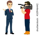 reporter and cameraman operator ... | Shutterstock .eps vector #410946442