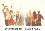 teenagers friends beach party... | Shutterstock . vector #410957662