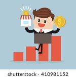 businessman holding shop and...