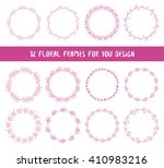 floral set of 12 wreaths.... | Shutterstock .eps vector #410983216