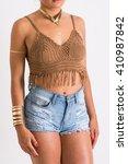 closeup of young woman's body... | Shutterstock . vector #410987842
