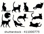 Stock vector vector cats silhouette cats in various poses 411000775