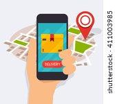 hand holding mobile smart phone ... | Shutterstock .eps vector #411003985