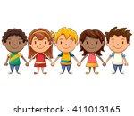 children holding hands | Shutterstock .eps vector #411013165