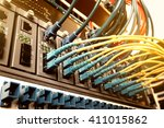 fiber optic cables connected to ...   Shutterstock . vector #411015862