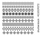 pixel ornament pattern brush ... | Shutterstock .eps vector #411019372