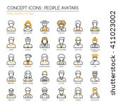 people avatars   thin line and... | Shutterstock .eps vector #411023002