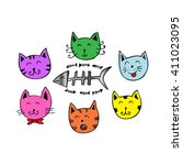 cute cartoon doodle cats | Shutterstock .eps vector #411023095