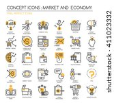 market and economy   thin line... | Shutterstock .eps vector #411023332