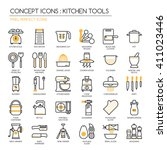 kitchen tools   thin line icons ... | Shutterstock .eps vector #411023446