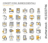 business essentials   thin line ... | Shutterstock .eps vector #411023746