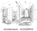 sketch black and white interior ... | Shutterstock . vector #411028942