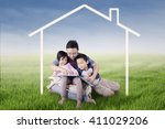 image of two children and their ... | Shutterstock . vector #411029206