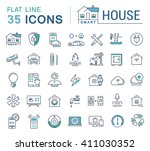 set vector line icons in flat... | Shutterstock .eps vector #411030352