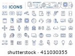 set vector line icons in flat... | Shutterstock .eps vector #411030355