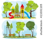 children's playground in a city ... | Shutterstock .eps vector #411031105