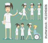 nurses flat design character... | Shutterstock .eps vector #411040606