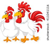 illustration of hen and rooster | Shutterstock . vector #411041116