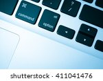 keyboard close up in blue tone | Shutterstock . vector #411041476