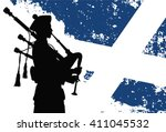 Silhouette Of A Bagpiper With...