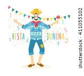 festa junina traditional... | Shutterstock .eps vector #411055102