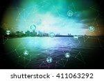cityscape on the coast  smart... | Shutterstock . vector #411063292