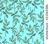 seamless pattern with branches... | Shutterstock .eps vector #411065386