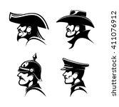 black profiles of brutal cowboy ... | Shutterstock .eps vector #411076912