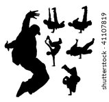 silhouette of hip hop dancer   Shutterstock .eps vector #41107819