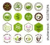 green and black tea badges.... | Shutterstock .eps vector #411078196