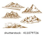 mountain landscapes sketch...   Shutterstock .eps vector #411079726