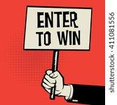 hand holding poster  business... | Shutterstock .eps vector #411081556