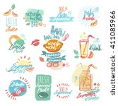 set of hand drawn watercolor... | Shutterstock .eps vector #411085966