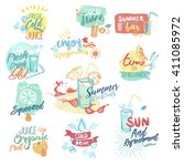 set of hand drawn watercolor... | Shutterstock .eps vector #411085972