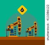 pumpjack oil rig crane platform ... | Shutterstock .eps vector #411086122
