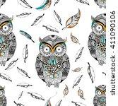 tribal boho style owl in vector ... | Shutterstock .eps vector #411090106