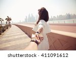 couple summer vacation travel.... | Shutterstock . vector #411091612
