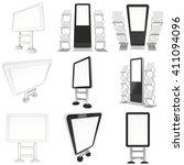 lcd screen floor stand set.... | Shutterstock . vector #411094096