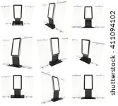 lcd screen floor stand with... | Shutterstock . vector #411094102