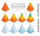 3d layered pyramid chart for... | Shutterstock .eps vector #411095326