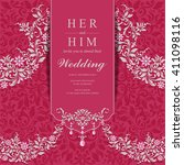 wedding invitation or card with ... | Shutterstock .eps vector #411098116