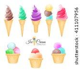 set of cartoon ice cream scoops ... | Shutterstock . vector #411107956
