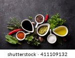 herbs  condiments and spices on ... | Shutterstock . vector #411109132