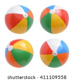 Beach Balls Set Isolated White - Fine Art prints