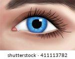 blue woman's eye illustration | Shutterstock .eps vector #411113782