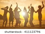 people having fun on the beach. | Shutterstock . vector #411123796