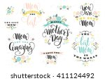 happy mothers day handdrawn ... | Shutterstock .eps vector #411124492