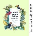 vector illustration tropical... | Shutterstock .eps vector #411127225