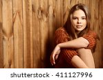 pretty smiling teen girl in a... | Shutterstock . vector #411127996