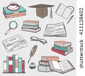 reading  hand drawn objects set.... | Shutterstock .eps vector #411128602